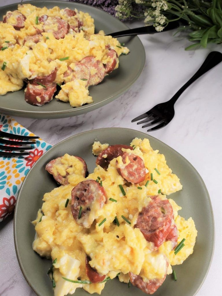 Sausage Feta Eggs Breakfast Scramble