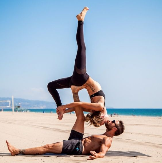 This is one of the easiest couple yoga poses around.