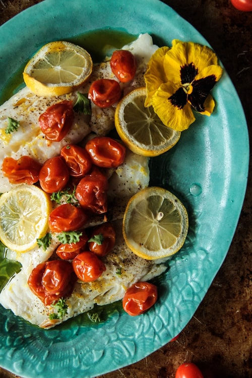 Keto Roasted Fish with Spicy Tomato Garlic Confit