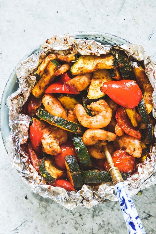 SHRIMP FOIL PACKETS WITH ZUCCHINI